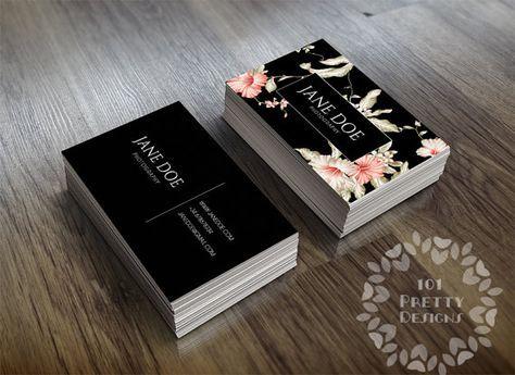Floral business card design botanical business cards printable business card design modern business card black elegant graphic design