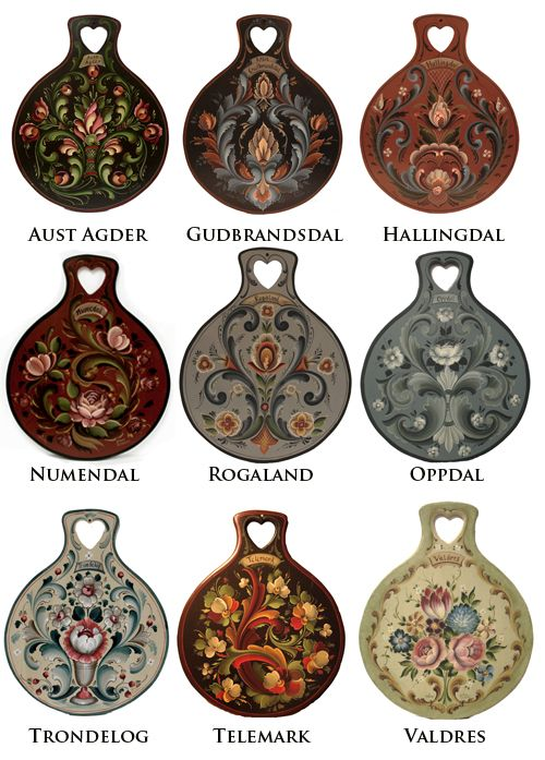 A sampling of Rosemaling styles from various regions in Norway. --- I must note that they screwed up a few of their spellings. It should say Numedal and Trøndelag.