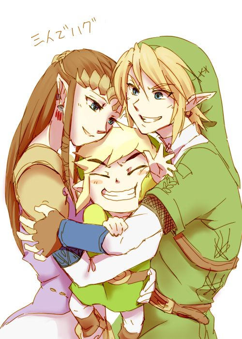 """Zelda: """"You are in good hands Toon Link""""  Link: """"Yah we'll protect you""""  Toon Link: """"Guys I can't breath!"""""""