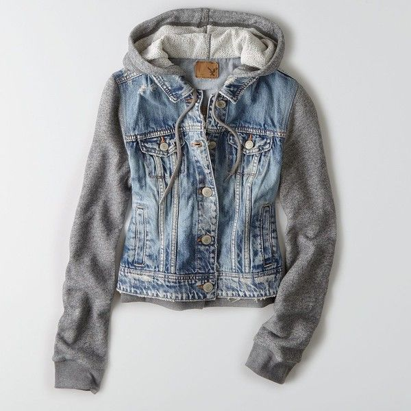 AEO Hooded Denim Jacket (Coat) (91 AUD) ❤ liked on Polyvore featuring outerwear, jackets, drawstring jacket, jean jacket, hooded jacket, denim jacket and american eagle outfitters
