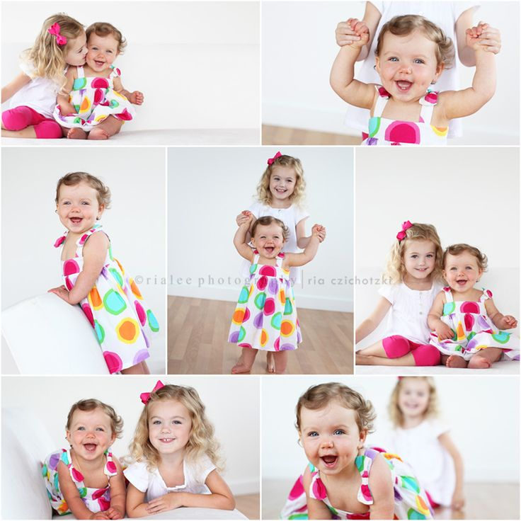 Cute picture idea for the girls once B starts walking. Love the white background with the bright colors.