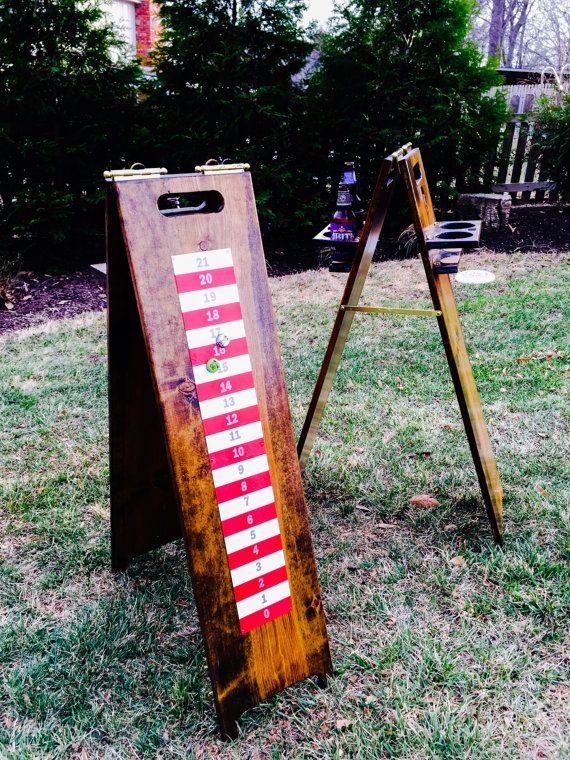 Scoreboard and Drink holder for your favorite backyard games. Once you have this, the game will never be the same. These are handcrafted to
