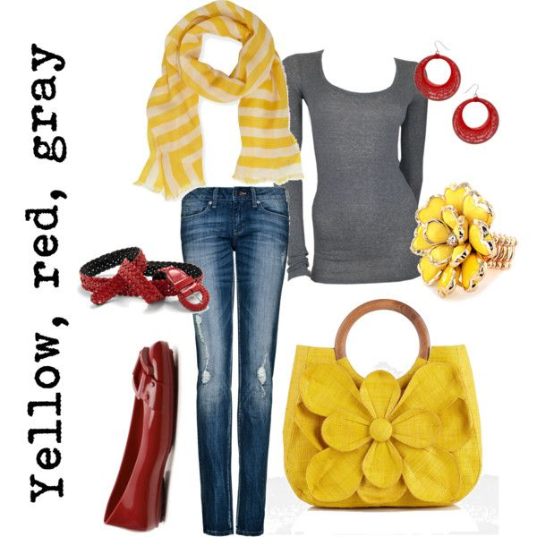 """""""Yellow, red, gray"""" by jenoeh on Polyvore"""