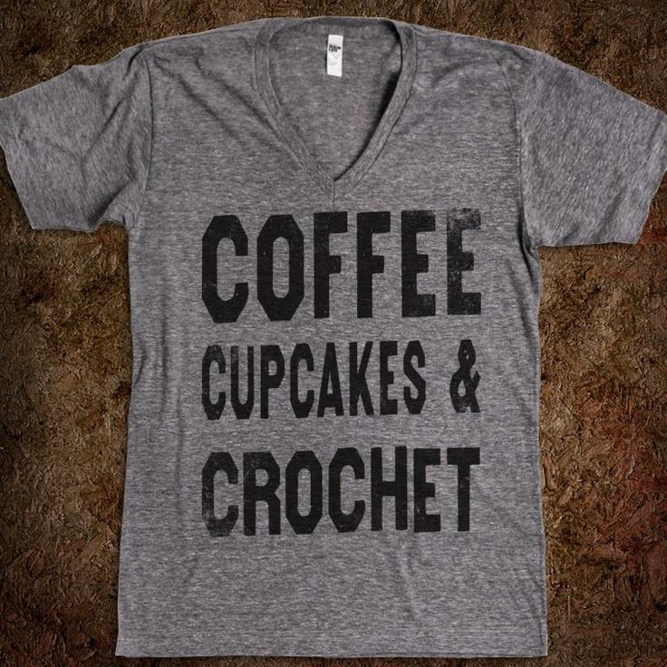 Coffee Cupcakes & Crochet (Vintage V Neck)