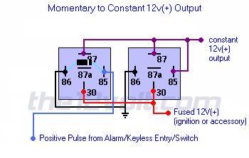 Wire diagram negative door trigger relay with fade relay for 12 volt door latch
