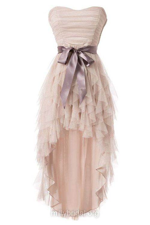 Original High Low Prom Dresses,A-line Sweetheart Homecoming Dresses,Tulle Asymmetrical Cocktail Dress,Sashes / Ribbons Formal Party Dresses
