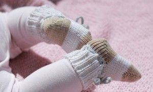 Babysokker med ribbestrikket skaft