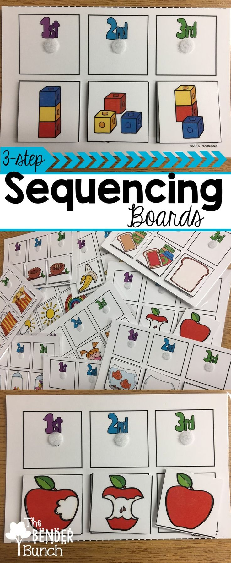 Twenty-eight 3-step sequencing boards allow multiple practice opportunities for beginners!