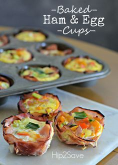 Here's an easy make-ahead breakfast idea that will come in handy for those busy school/work mornings. Bake these yummy ham and egg cups in a muffin tin for a handy breakfast on the go. Swap out veg...