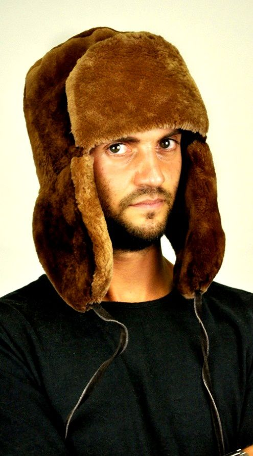 Wonderful men's fur hat, extremely warm and soft. Fashionable Canadian beaver fur  hat - Ushanka.  www.amifur.co.uk