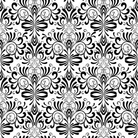 Damask Seamless Pattern Floral Vintage Black White Background Black And White Background Wallpapers Vintage Stencils Wall