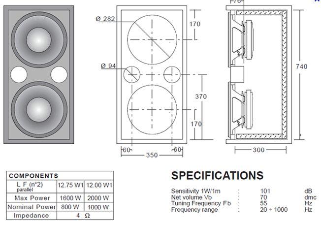 "2 x 8"" + 1"" mid-hi speaker plans"