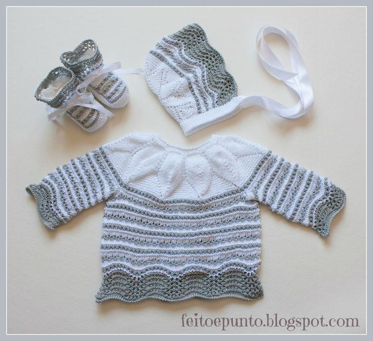 Conjunto en perlé gris y blanco
