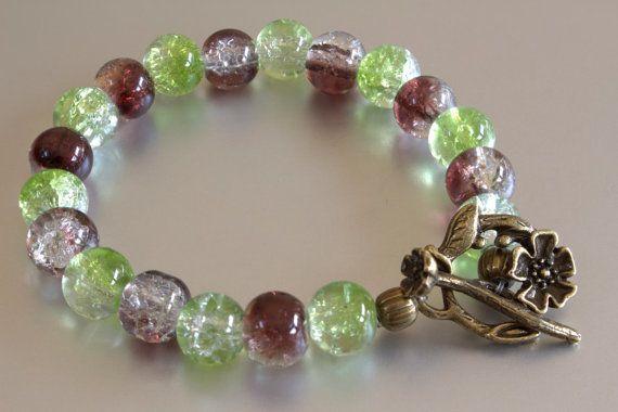 Green Brown Glass Beaded Bracelet Bracelet by MoniqueUniquely