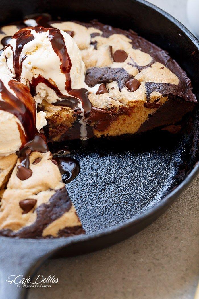 Chocolate Chip Cookie Marbled Skillet Brownie | http://cafedelites.com