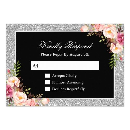 Silver Wedding Glitter Invitations Silver Glitter Sparkles Floral Wedding RSVP Reply Card