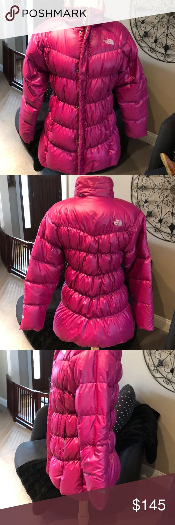 NORTH FACE MAGENTA DOWN JACKET 💕BRAND NEW NO TAGS/NO HOOD💕 AUTHENTIC NORTH FACE MAGENTA DOWN (VERY WARM) PUFFER JACKET. PURCHASED WITHOUT THE REMOVABLE HAT (So this jacket will NOT have the hat) and never have worn it.  It is a girls XL/TG (18) and I purchased for myself (adult small).  Disclosing above because I like ALL INFORMATION TO BE DISCLOSED. Please ask if you have further questions.  🚫NO TRADES🚫. The North Face Jackets & Coats Puffers