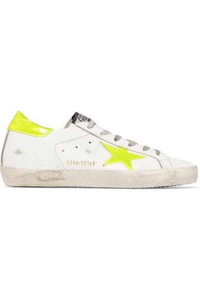 Golden Goose Deluxe Brand - Super Star Neon Patent-paneled Distressed Leather Sneakers - White
