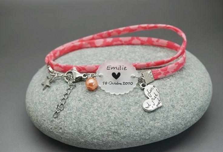 """bracelet double tour liberty rose cabochon """"prénom + date"""" cadeaux maman naissance : Bracelet par dans-mon-atelier"""