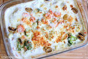 Ofenschnitzel sind immer eine recht einfache, aber dennoch sehr leckere Angelegenheit.  Hier in einer Version mit viel Gemüse und Champign...