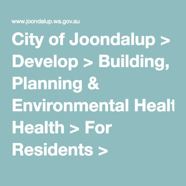City of Joondalup > Develop > Building, Planning & Environmental Health > For Residents > Rainwater Tanks