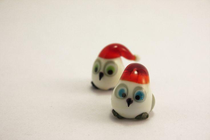 Christmas owls, lampwork------------ GlassFlemming / Janita Simula