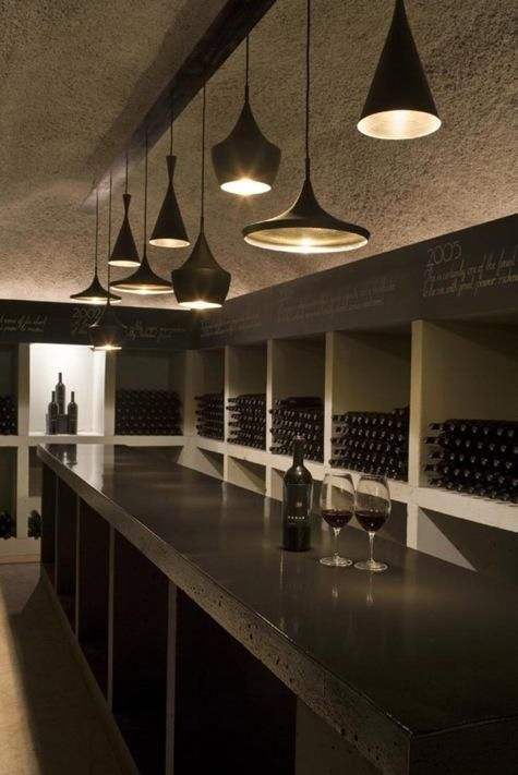 Netherlands-based Uxus Design created the tasting rooms at the Merus Winery in Napa, which feature Tom Dixon lighting and a chalkboard-painted strip for indicating wine varieties. Gorgeous! Would love one of these in my house!