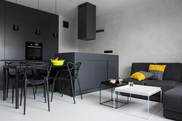 Спальня в цветах: черный, серый, светло-серый, белый, лимонный. Спальня в стиле хай-тек.
