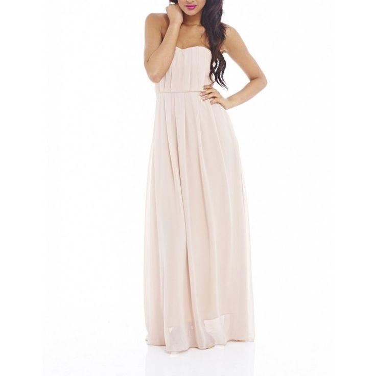 Gorsetowa #długa #sukienka z szyfonu na #wesele kolor #nude https://stylovesukienki.pl/