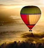 Hot air ballooning over the Yarra Valley near Melbourne, Australia.