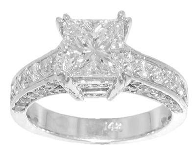 3.40 ct. TW Princess Diamond Engagement Ring