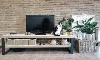 Mueble Para Tv Lcd Led En Hierro Y Madera 1,60 M Noroeste 1