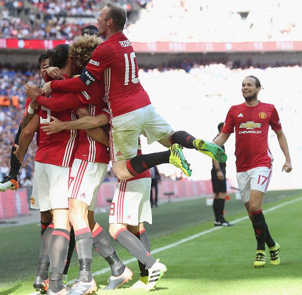 Zlatan Ibrahimovic of Manchester United celebrates scoring their second goal during the FA Community Shield match between…