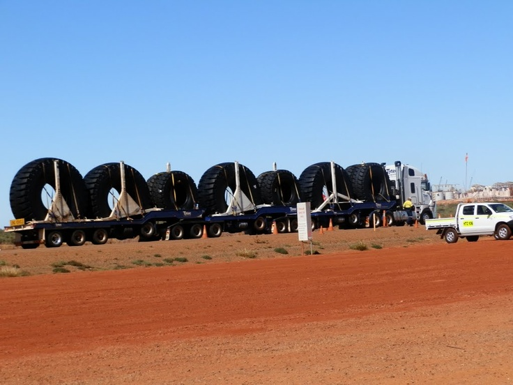 Large Tyres Going To The Mines