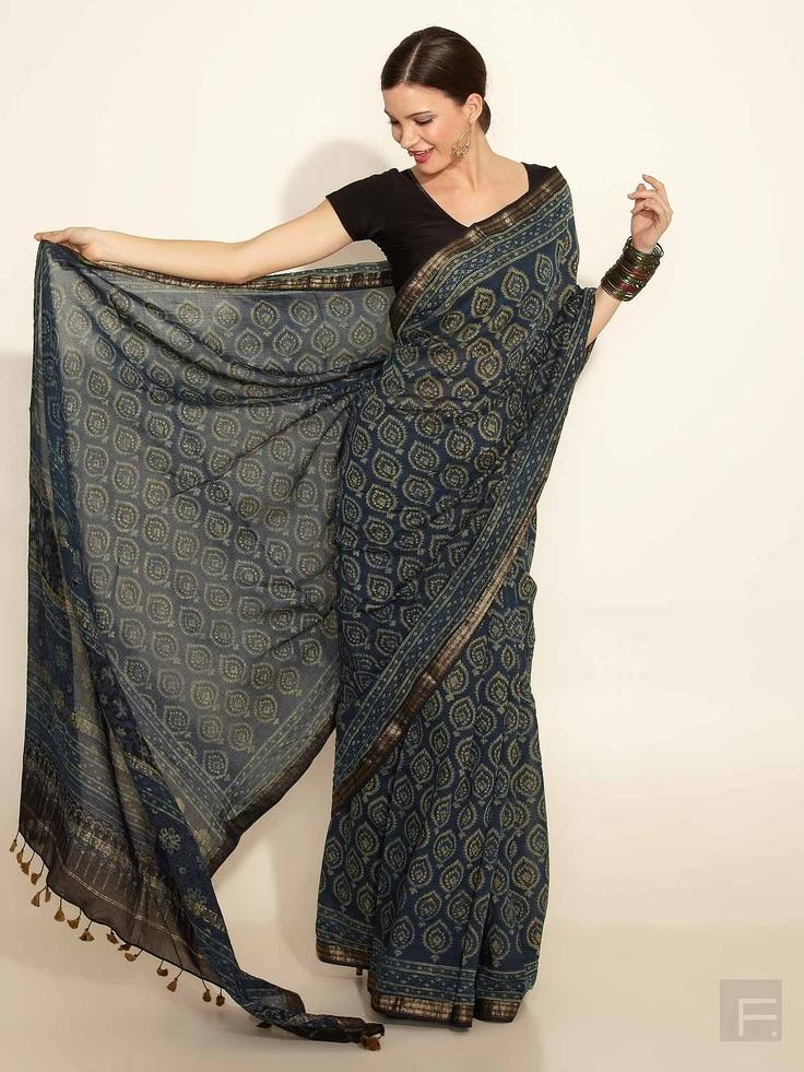 FabIndia // Silk- Cotton Maheswari Ajrakh Print Sari