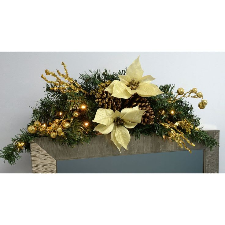 90 cm Decorated Pre-Lit Arch Garland Christmas Decoration Illuminated with 20 Cold White LED Lights, Gold/Cream