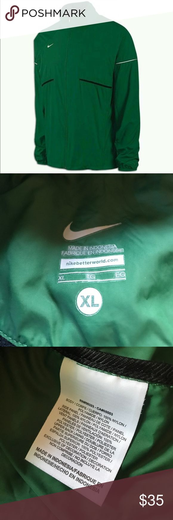 NIKE MEN'S XL ZOOM RUNNING WIND JACKET FULL ZIP NIKE MEN'S XL ZOOM RUNNING WIND JACKET FULL ZIP GREEN WATER RESIST, like new. Nike Jackets & Coats Windbreakers