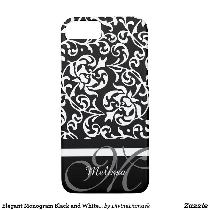 Elegant Monogram Black and White Damask iPhone 7 Case