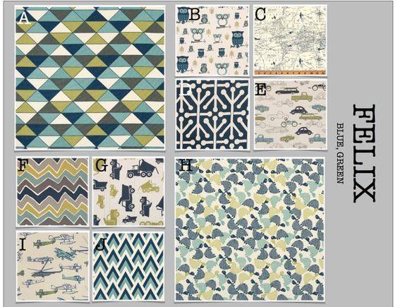 Custom Baby Crib Bedding- Design Your Own Modern Bedding-Dorm Bedding- Glider Cushions- Felix Blue Green
