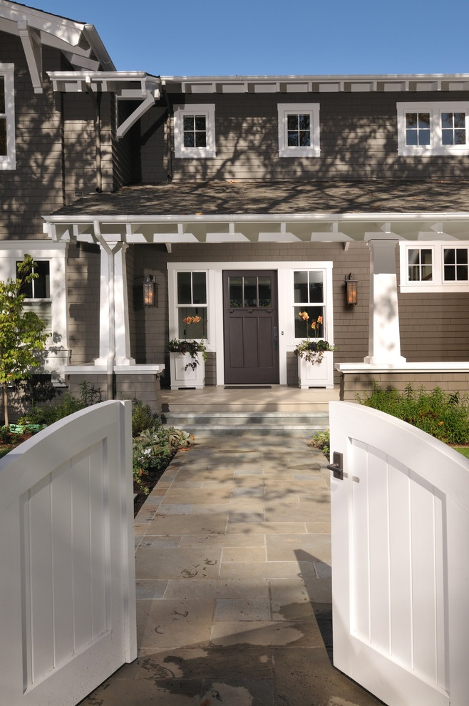 Traditional Entry Ranch House Exterior Like paint color and door and style of front entry. ~ I like the greige color. Looks a bit like Restoration hardware's stone and slate paint colors.