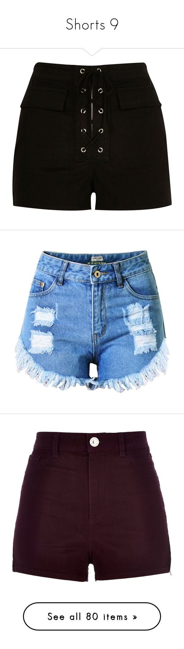 """""""Shorts 9"""" by musicmelody1 on Polyvore featuring shorts, bottoms, pants, short, black, smart shorts, women, high-waisted shorts, lace up shorts and river island"""