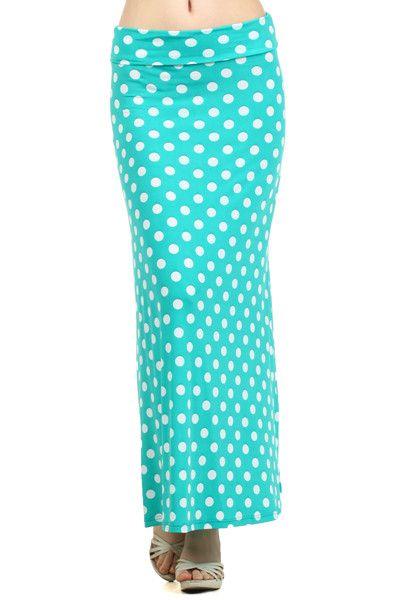 Turquoise Maxi Skirt with White Polka Dot