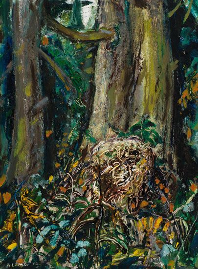 Arthur Lismer - Trees in the Forest B.C. 16 x 12 Oil on board