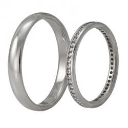 Обручальные кольца из белого золота, артикул WR01-1F18 - купить по лучшей цене, описание, характеристики, фотографии