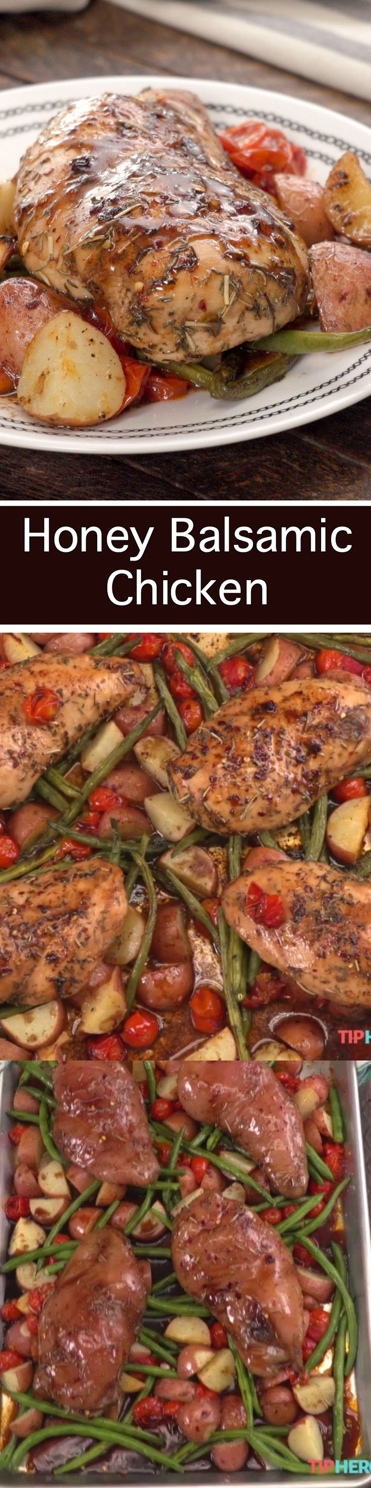 Honey Balsamic is a great way to bring full flavor to chicken. This sheet pan meal is easy to prep and is impressive to put on the table.