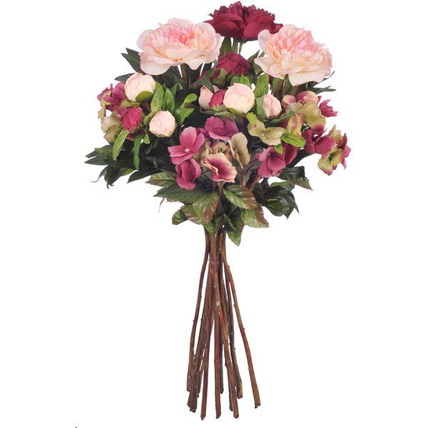 House of Silk Flowers Artificial Peony and Hydrangea Natural Bouquet found on Polyvore