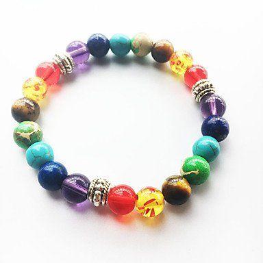 Strand armbanden voor dames en heren met chakra regenboog kleuren