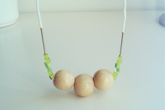 Lime Wooden Beads Necklace  Minimalistic Statement by SKRIN, $40.00