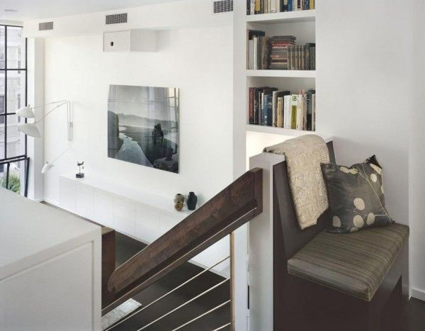 Cozy Dynamic House Design with the Modern Concept: Small Bookshelf Upholstered Bench Dynamic Duplex Interior Design ~ anahitafurniture.com House Design Inspiration