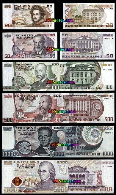 austrian money | 20, 50, 100, 500, 1.000, 5.000 schilling